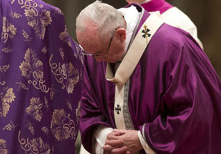 Purple robed Pope Frnacis